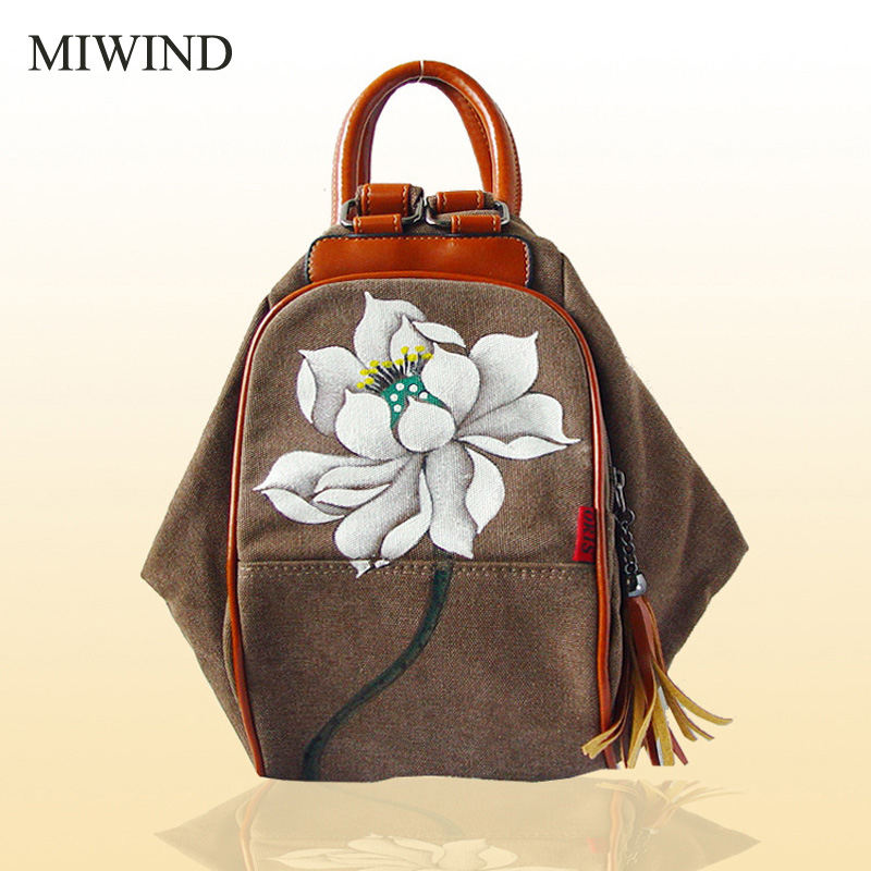 MIWIND Women Backpack Canvas Backpacks Softback Bags Brand Name Bag Vintage Floral Backpacks Girls Backpack WUB015 tangimp drawstring backpacks embroidery dear my universe cherry rocket printing canvas softback man women harajuku bags 2018