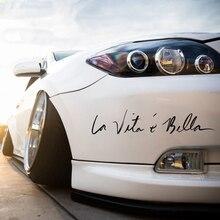 Автомобильные наклейки 22 см La Vita e Bella, светоотражающие буквы, виниловые наклейки, модные креативные наклейки для автомобиля