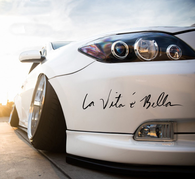Car Stickers Decals 22cm La Vita e Bella Reflective Letters Vinyls Decals Fashion Creative Car Full Body Head Styling Stickers(China)