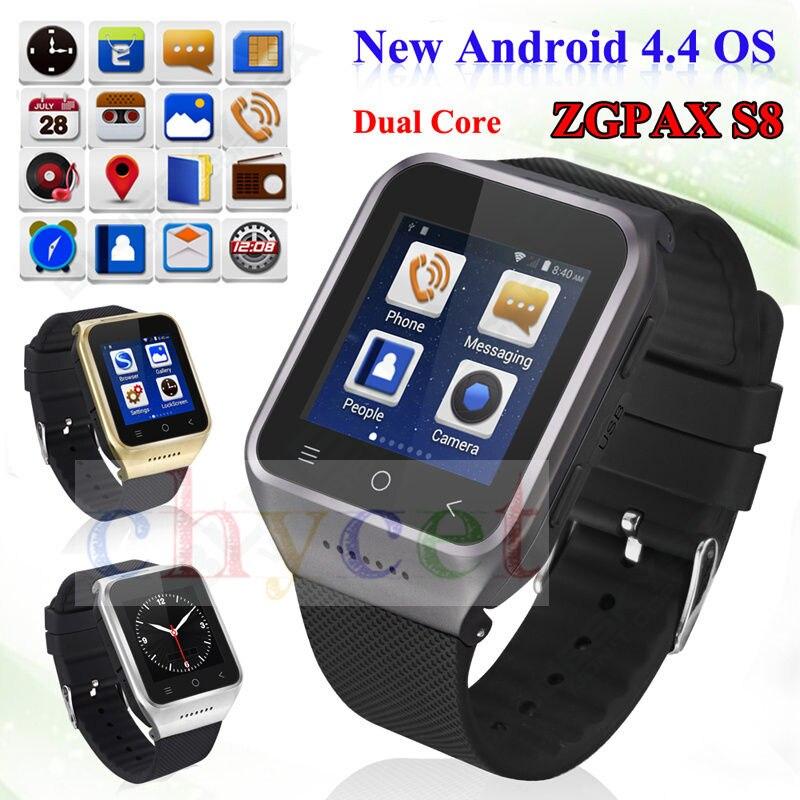 imágenes para ZGPAX S8 Smartphone Bluetooth Reloj Inteligente Android 4.4 MTK6572 Dual Core GPS 2.0MP Cámara WCDMA WiFi MP3 MP4 Smartwatch U8 PK Q18
