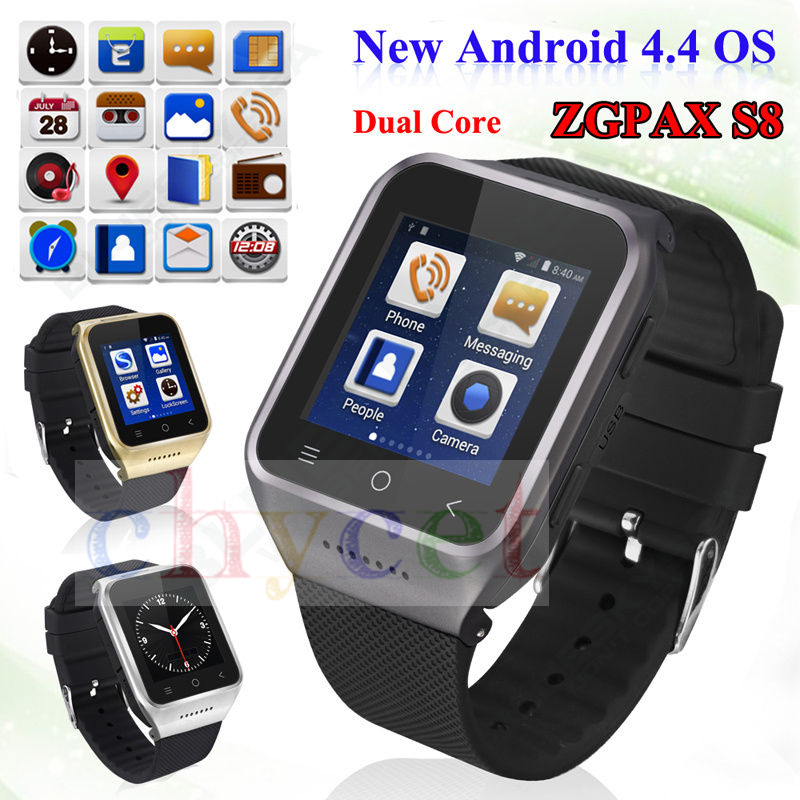 ZGPAX S8 Smartphone Bluetooth Smart Watch Android 4 4 MTK6572 Dual Core GPS 2 0MP Camera