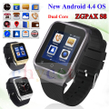 Zgpax s8 smartphone bluetooth smart watch android 4.4 mtk6572 dual core GPS Câmera 2.0MP WCDMA WiFi MP3 MP4 Smartwatch U8 PK Q18