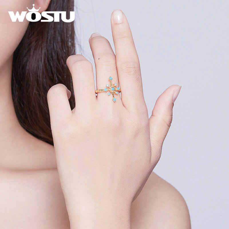 WOSTU 100% Echt Sterling Silber Shiny Mango Öffnung Ringe Einfache & Schöne Goldene Hexagramm Sterne Mit Blau Ringe CQR548