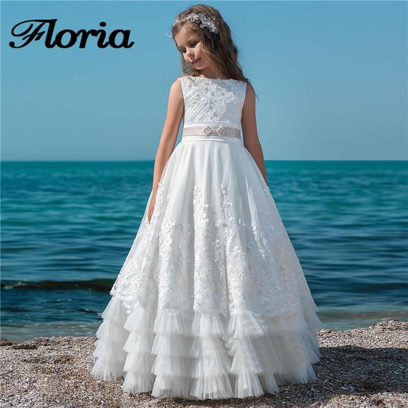 White Beading Flower Girl Dresses For Weddings Long Ball Gown First Communion Dresses For Girls Kids Baby Pageant Gowns Vestidos