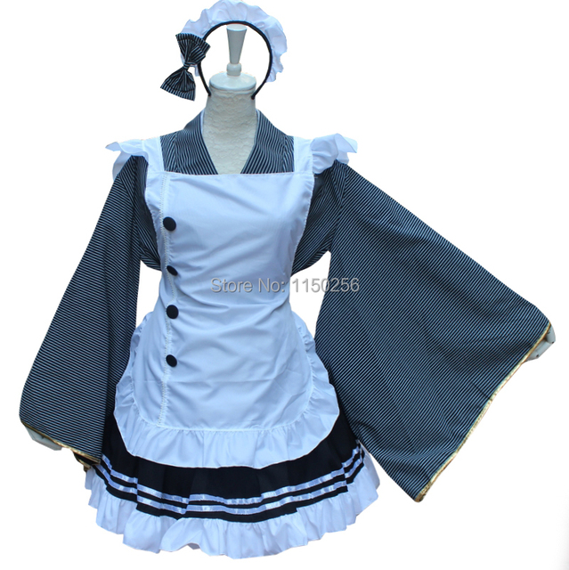 Anime Love Live Kousaka Honoka Cosplay Costume Lolita Coffee Shop Servant Maid Dress Costume New Free Shipping+Drop Shipping