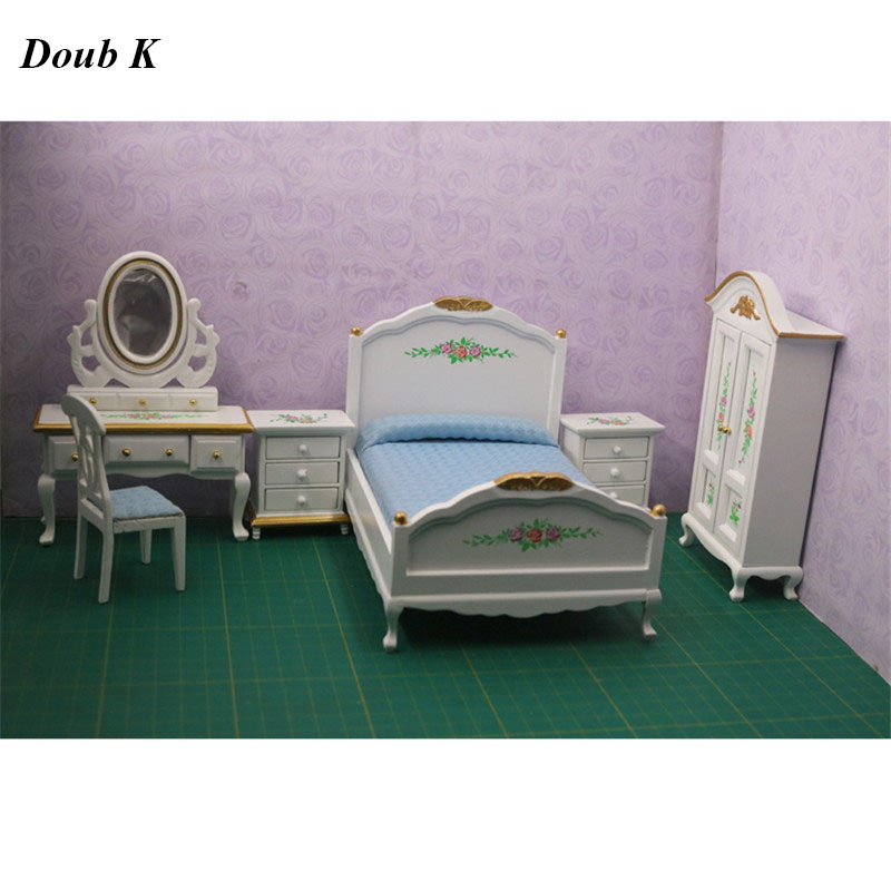 1:12 Dollhouse Furniture toy dolls Wooden white Miniature simulation bed bedroom sets pretend play toys for kids girls gifts