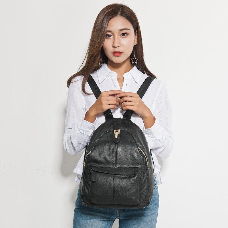 Zency Heißer Verkauf Frauen Rucksack 100% Echtem Leder Praktische Lady Reisetasche Schulranzen Für Mädchen Täglichen Lässige Knapsack Schwarz-in Rucksäcke aus Gepäck & Taschen bei  Gruppe 2