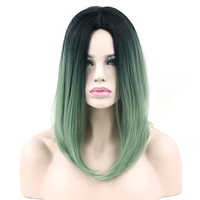 Soowee Black To Green Ombre Hair Synthetic Hair Bob Wig for Black Women Straight Hair Halloween Cosplay Wigs Hair Accessories