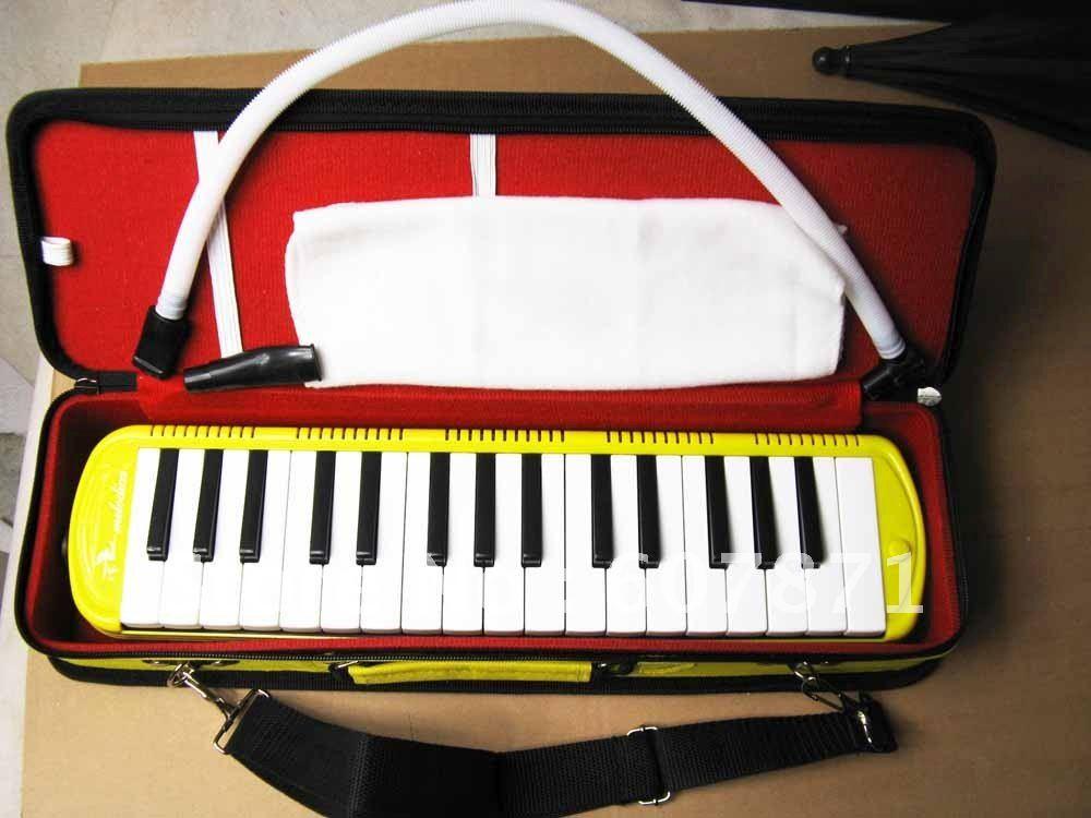 New ~ 32KEY MELODICA Fine Case Nice Tone~ Yellow new swan 32key melodica fine case nice tone yellow