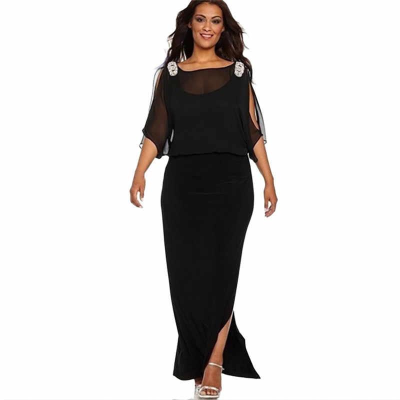 Элегантное женское платье, однотонное, с коротким рукавом, с разрезом, Длинное Макси платье, модное, большие размеры, женское вечернее платье, vestidos L-6XL