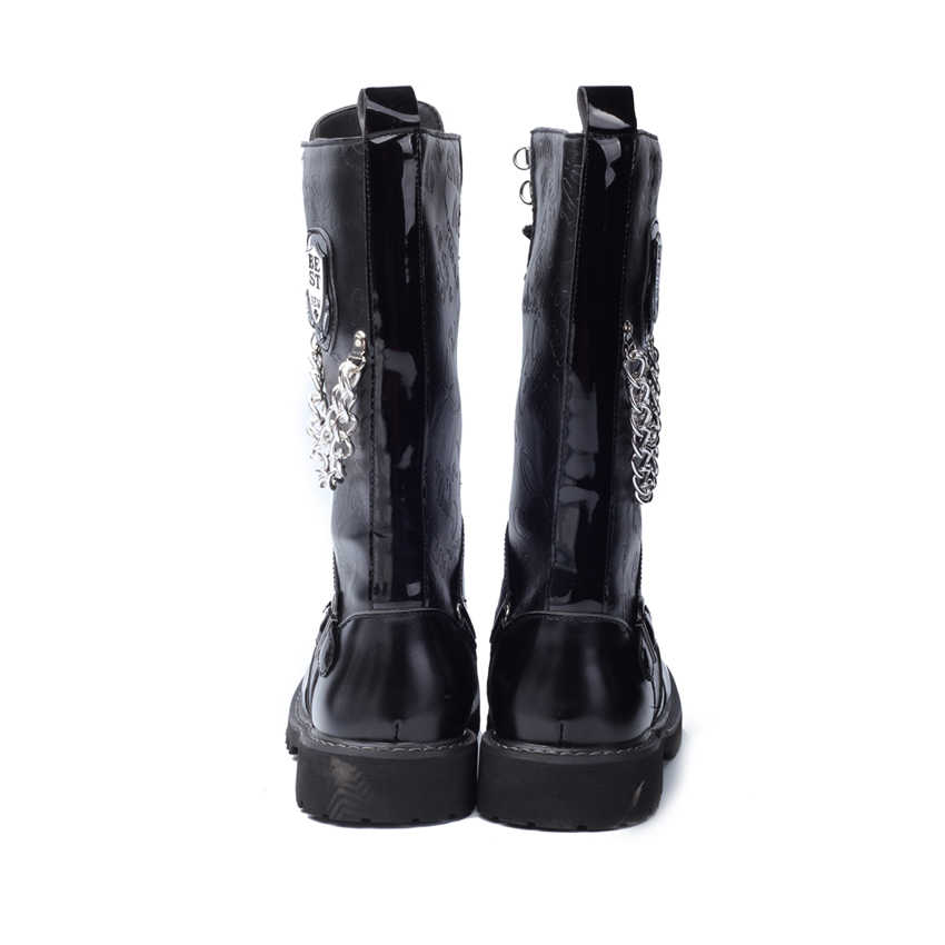 04ce69e9af0 ZERO MORE Army Boots Men High Military Combat Men Boots Mid Calf Metal  Chain Male Motorcycle Punk Boots Spring Men's Shoes Rock
