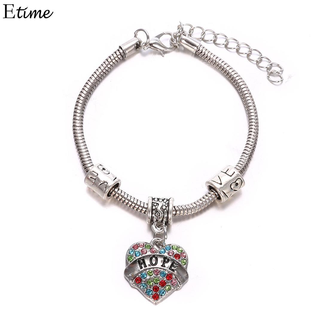 Believe Bohemian Letter T Family Heart Chain Bracelet