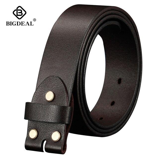BIGDEAL ceintures en cuir véritable pour hommes, largeur 38mm 100%, Grain complet, sangle de marque à la mode, pour jean Vintage, sans boucle