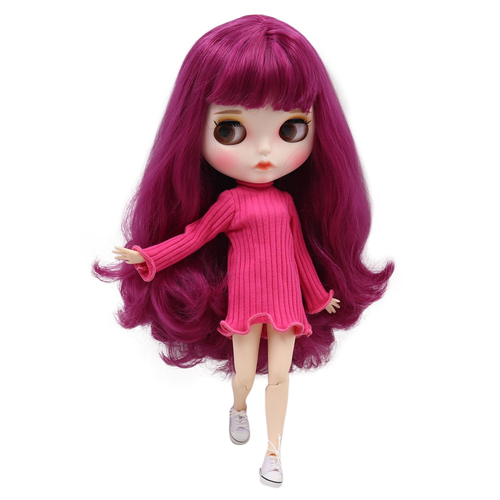 Blyth doll 1 6 bjd white skin joint body Cute deep pink curly hair new matte