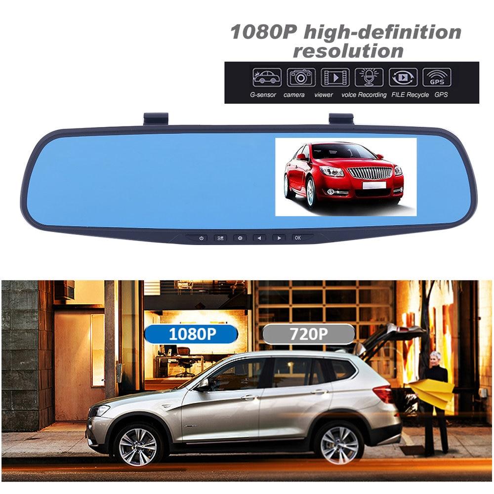 цена на HD 1080P In-Car Rear View Mirror 4.3 inch TFT LCD Monitor Dash Cam Recorder Dual Lens Camera