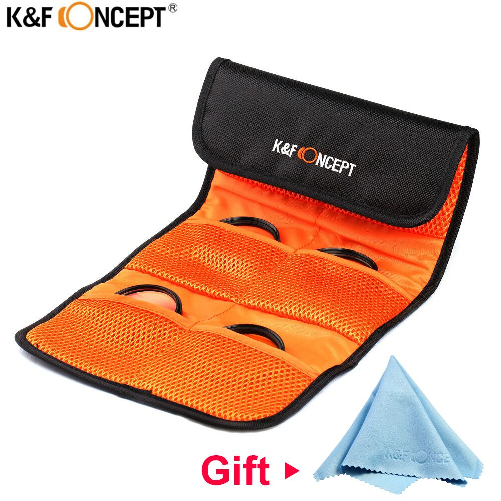 K & F KONZEPT Objektiv Filter Brieftasche Haut Fall 3 4 6 Taschen Filter Tasche Für Kamera Filter Beutel UV ND Zirkularpolfilter 49mm-82mm