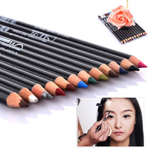 Professional 12Pcs Color Cosmetic Eyeshadow Pen Blusher Makeup Eyeliner Pencil Palette for woman