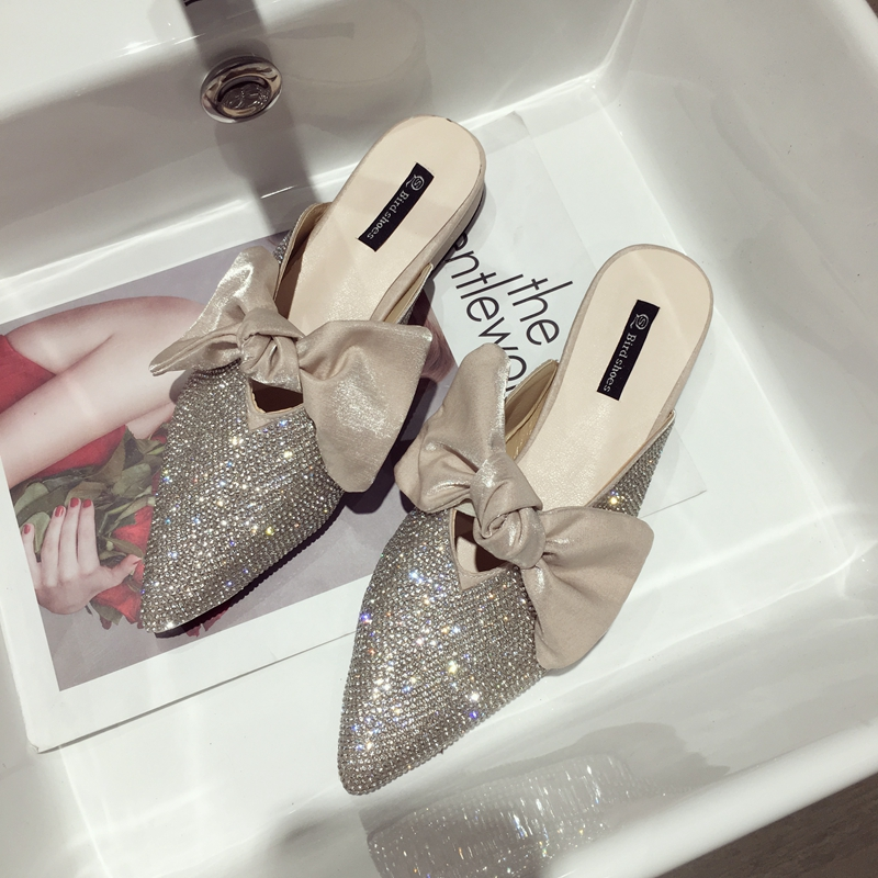 Pointed toe slippers crystal bowknot shoes woman low heels anti-skid slides shallow mules casual flipflops cute femme summer new 11