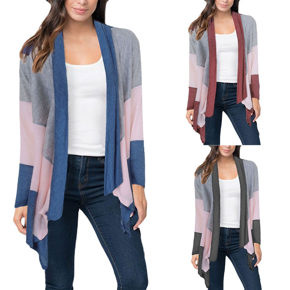 2018 New Design Casual Women Cardigans Spring Autumn Solid Open Stitch Long Sleeve Three Color Striped Kimono Cardigan