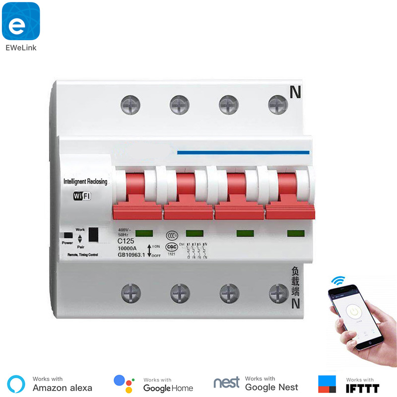 eWeLink 4P 16A 125A Remote Control Wifi Circuit Breaker Smart Switch Automatic Recloser support alexa and