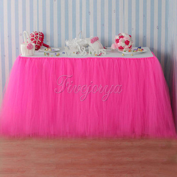 5pcs/lot Handmade Hot Pink Tulle Tutu Table Skirt Tulle Tutu Skirt 100cm x 80cm for Party Baby Shower Wedding Favors Decoration