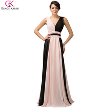 Grace Karin Rainbow Evening Dresses Long 2017 New V Neck Floor Length Ombre Dyeing Party Prom Dress Formal Evening Gowns 6172