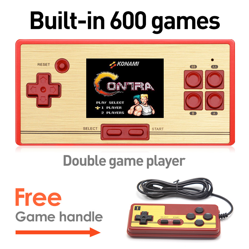 Free Shipping hot Retro Video Game 2.6 Inch Screen Children`S Handheld Game Console Built-in Free 600 games NES gift for kid