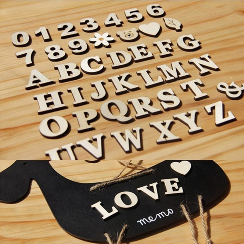 1Set Wooden Letter Alphabet Sign Number Pattern Wood Mold Decorative White Stand