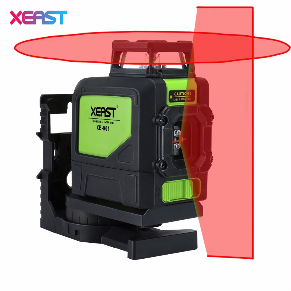 2017 caliente xeast XE-901 rojo 3D medidor de nivel láser 5 líneas 360 grados autonivelante mini instrumento portátil láser rojo haz