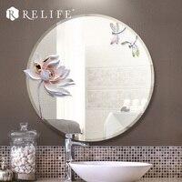 الحديثة جولة مرآة الراتنج اللوتس الزخرفية المرايا مكافحة الضباب الحمام ديكور المنزل
