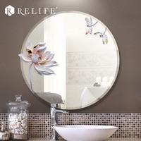 Moderne Runde Spiegel Harz Lotus Dekorative Anti-fog Badezimmerspiegel Wohnkultur