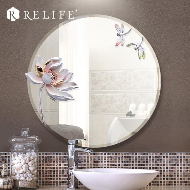 3b25cc0df Moderno Espelho Redondo Resina Lotus Decorativos Espelhos Do Banheiro  Anti-nevoeiro Decoração Da Sua Casa