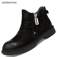 2019 new men's boots genuine cow leather causal work shoes man military boot zipper autumn winter ankle boots for men black shoe цены онлайн