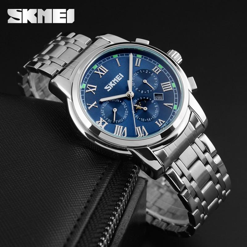 Hot Sale SKMEI Brand Stainless Steel Strap Analog Display Date Moon Phase Men's Quartz Watch Casual Watch Waterproof Men Watches
