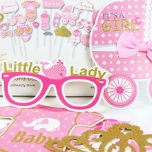 20pcs/Set Baby Girl (Boy) Shower Photobooth Props Its a girl Party Pink Blue Boy Photo