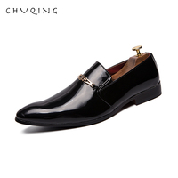 CHUQING Bright Leather Laced Up Business Shoes Men Classic Pointed Toe Formal Derbies Shoes