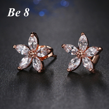 Be8 Brand Top Quality Cubic Zirconia Pave Flower Shape Fashion Jewelry Stud Earring For Women Rose Gold Color Elegant Gift E-215 be8 brand top quality cubic zirconia pave flower shape fashion jewelry stud earring for women rose gold color elegant gift e 215