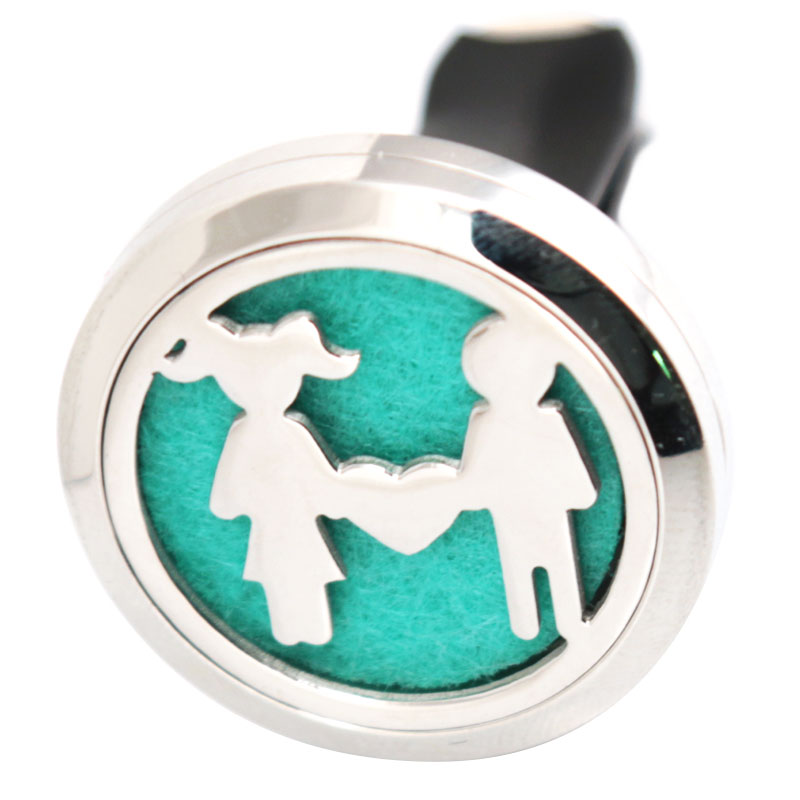 Boy and Girl 30mm Diffuser 316 Stainless Steel Car Aroma Locket Essential Oil Car Diffuser Locket Free 50Pcs Felt Pads