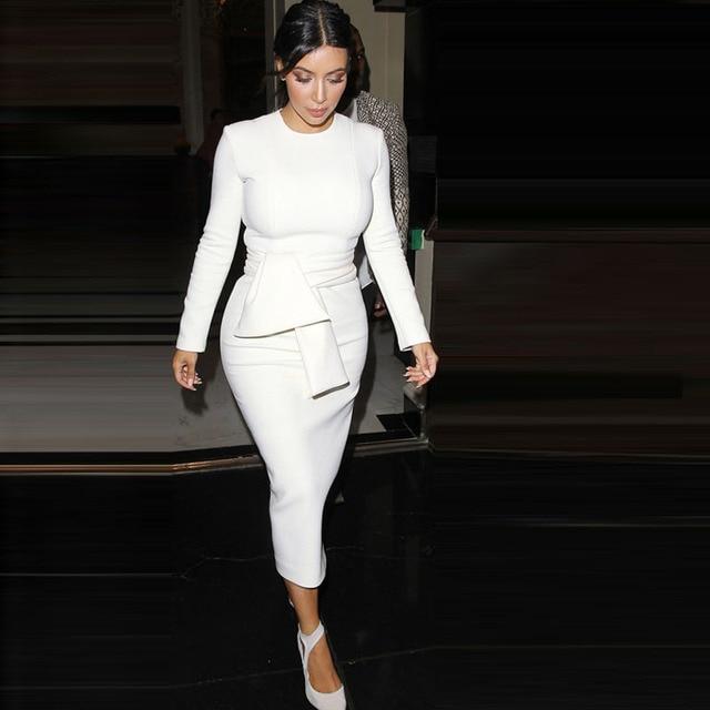 e41622325ad Осеннее платье Для женщин Новинка 2017 года ультра Красота Ким Кардашян белое  платье футляр с длинными
