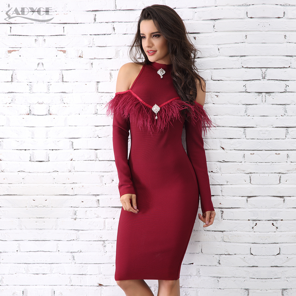 Adyce 2018 New Arrival Winter Wine Red Feather Embellished Bandage Dress  Sexy Long Sleeve Celebrity Evening 40a1e612f20c