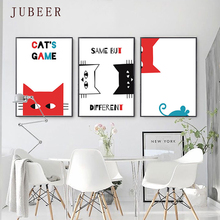 Personality Creative Cat Decorative Painting Nordic Ins Style Animal Poster Nursery Wall Art for Children Room Home Decor