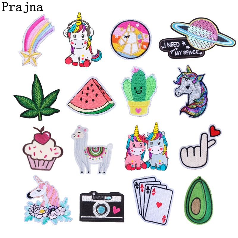 Prajna Cartoon Unicorn Planet Things Iron On Patches For Clothing Embroidery Stripe On Clothes Cute DIY Sequin Applique Badge(China)