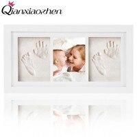 Qianxiaozhen Newborn Baby DIY Handprint Footprint Photo Frame Baby Frame Nontoxic Clay Fingerprints Inkpad Baby Shower Souvenir