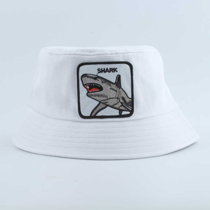2019 Baru Fashion Panama Ember Topi Pria Wanita Musim Panas Memancing Topi Hiu Bordir Hewan Hip Hop Topi Bob Topi Chapeau