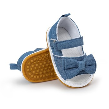 2018 Fashion Baby Girl Shoes Bow Stripe Butterfly-knot Hook & Loop Flat Heel Summer Sandals 0-18 Months conjuntos casuales para niñas