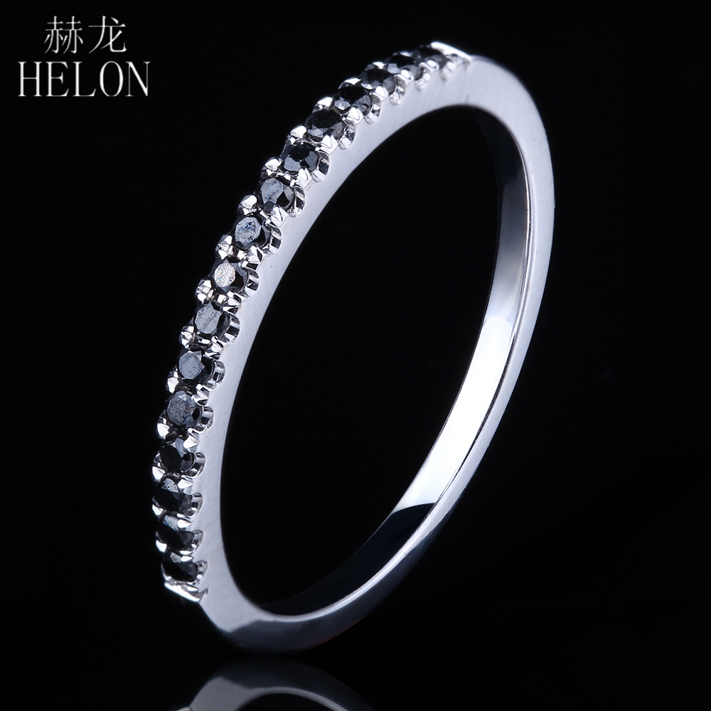 HELON Solid 10K White Gold Pave Black Diamonds Band Ring Style Exquisite Engagement Wedding Ring Women
