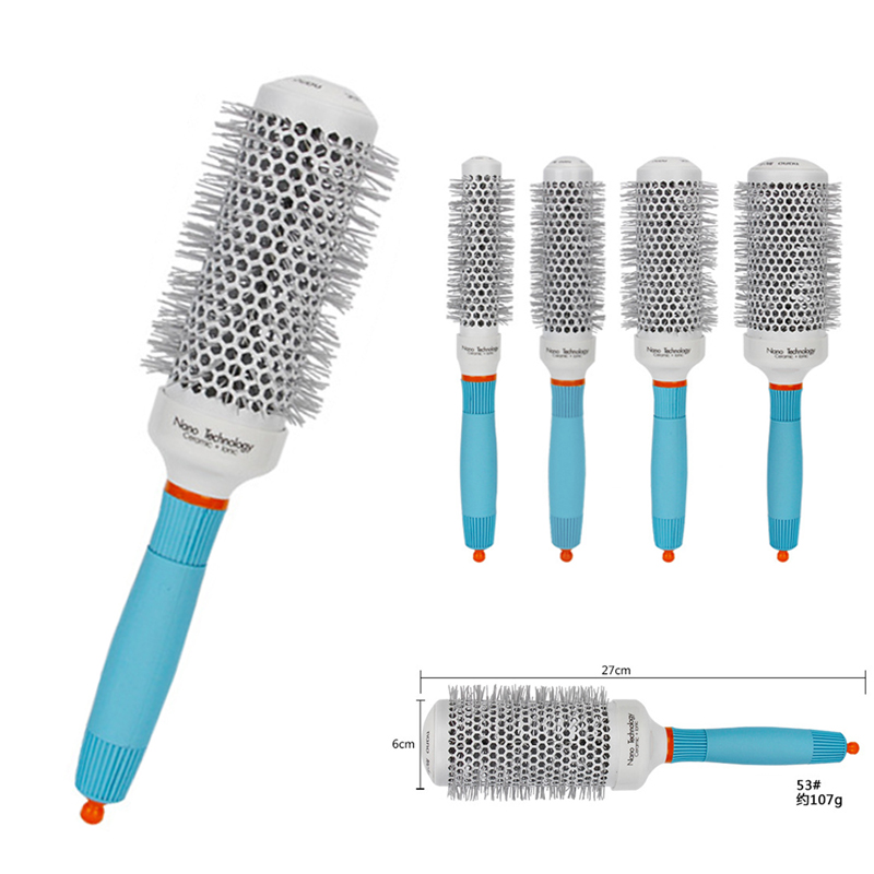 Mayitr 1pc Professional Ceramic Round Brush High Temperature Resistant Roller Curly Hair Comb Hair Styling Hairbrush For Salon