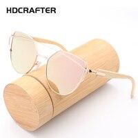 HDCRAFTER Wood Bamboo Sunglasses Women Fashion Mirror Sunglasses Brand Design HD Glasses
