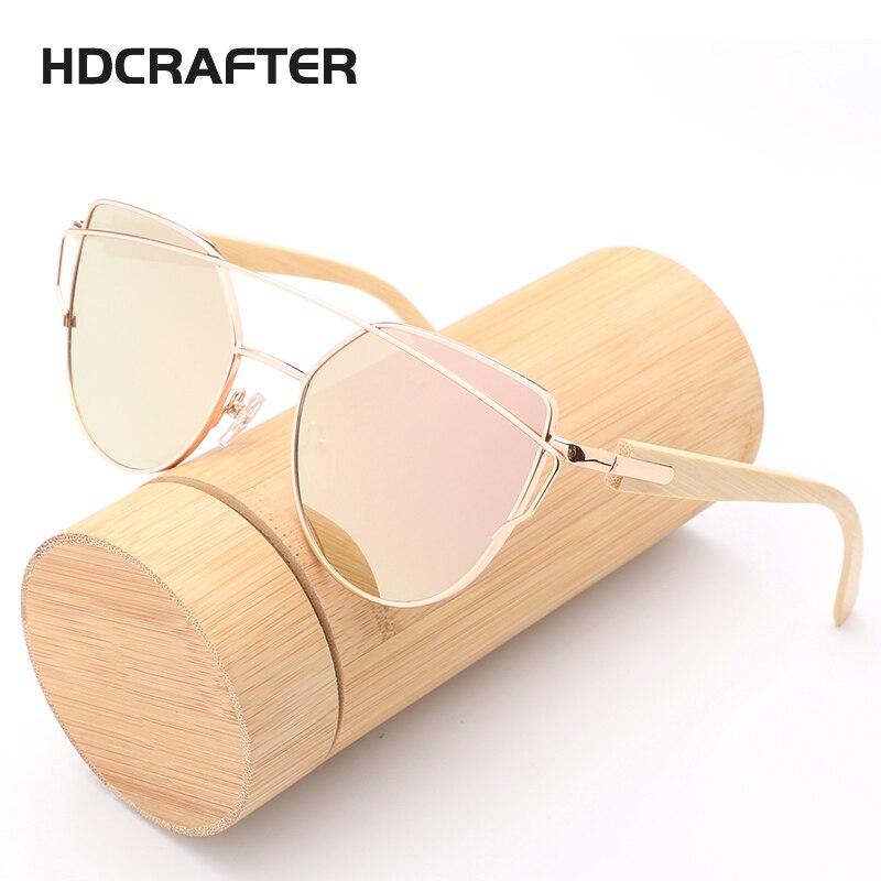 HDCRAFTER Cat Eye Bois Bambou lunettes de Soleil Femmes Mode Miroir lunettes de Soleil Femmes Marque Designer HD Lunettes