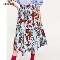 ce7af75904 Floral Printed Blue Gingham Long Skirts Women Nice Summer Fashion Buttons Skirts  Women Elegant Print Long
